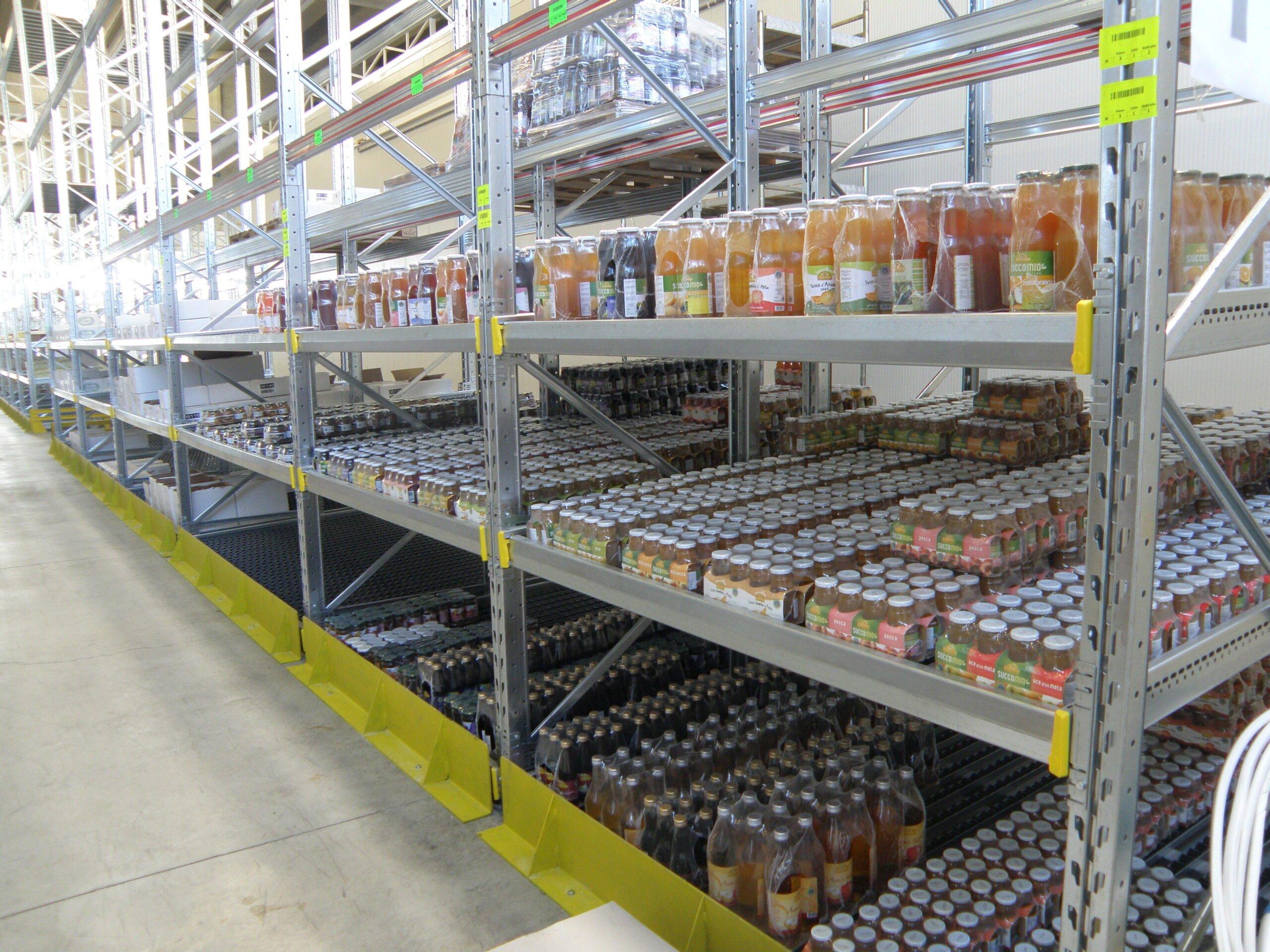 Scaffalatura a gravità leggera con rullini per magazzino